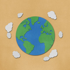 Planet earth  recycled papercraft.