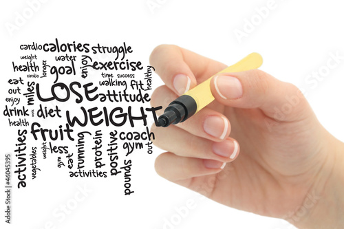 lose weight word cloud on chalbord
