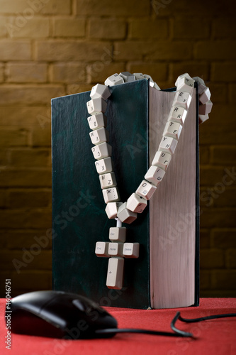 Rosary made from computer keyboard