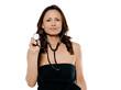 Portrait of a beautiful woman holding stethoscope