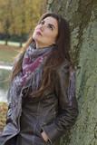 sad woman in park