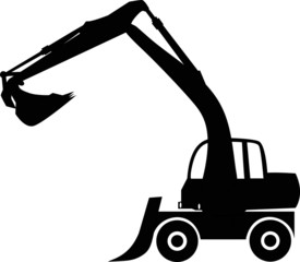 Silhouette big excavator, vector illustration