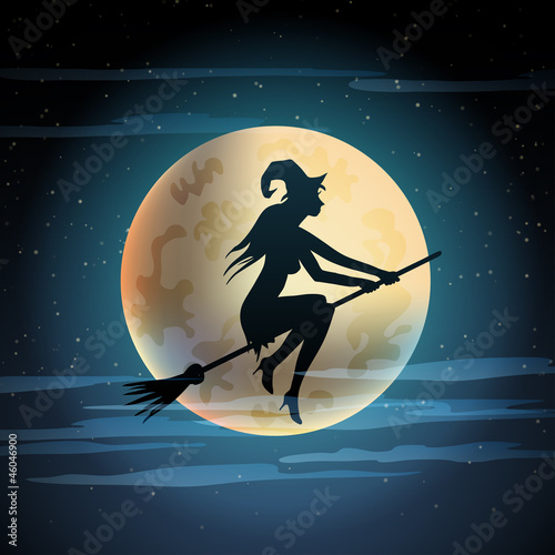 Illustration of witch on broom.