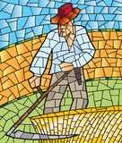 abstract mosaic - man mowing wheat
