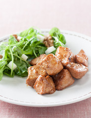 Marinated chicken breast with salad