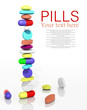 Stack of pills in a row