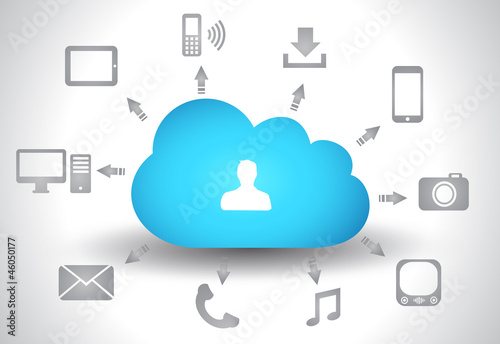 Cloud Computing concept background with a lot of icons
