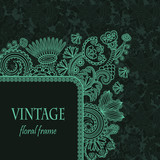 Vintage floral frame on seamless grunge wallpaper
