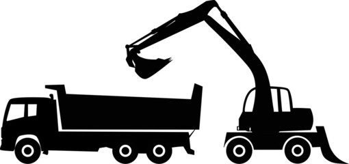 Silhouette excavator and dump truck, vector illustration.