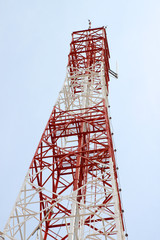 Telecommunication tower and antenna against the sky