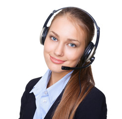 Closeup portrait of young female call centre employee with a hea