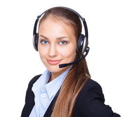 Closeup portrait of young female call centre employee
