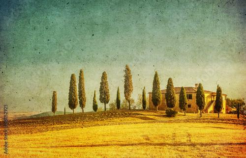 vintage tuscan landscape - 46052925