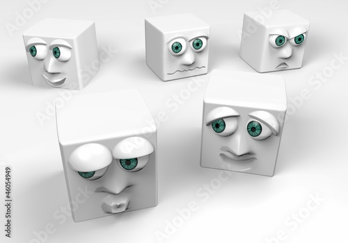 different expressions ,white cubes,3d
