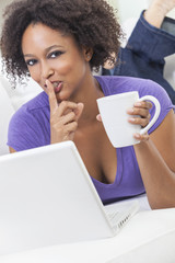 Mixed Race African American Girl Using Laptop Computer