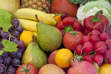 Fruits and vegetables colorful mixed assortment closeup