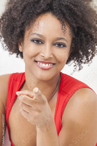 Happy Mixed Race African American Girl Pointing