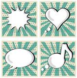 Speech Bubble in Pop-Art Style set Boom Heart Talk Music