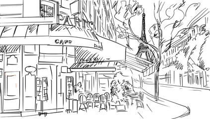 Street in paris -sketch illustration