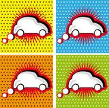Retro Car Speech Bubble in Pop-Art Style comic sticker