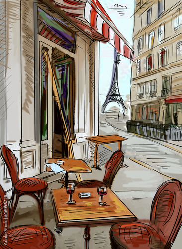 Papiers peints Drawn Street cafe Street in paris - illustration