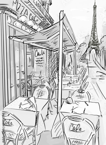 Papiers peints Peint Paris Paris street -sketch illustration