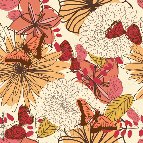 Tuinposter Abstract bloemen floral seamless pattern