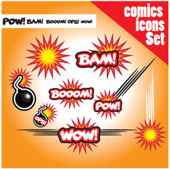 comic book style bombs boom bam wow pow ops  explode