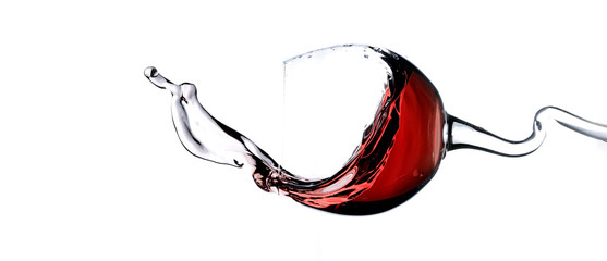Splashing red wine panorama
