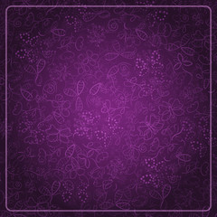 Abstract Dark Purple Card with Doodle Background
