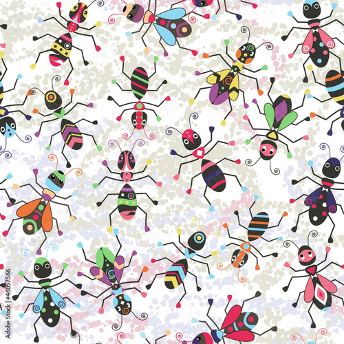 Funny seamless background with colorful stylized insects.