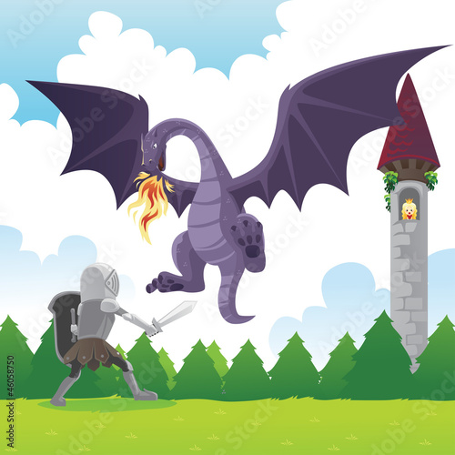 Fotobehang Ridders Knight fighting dragon