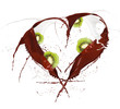 Heart symbol made of chocolate and milk splashes with kiwi