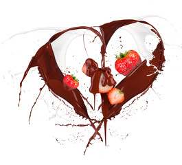 Heart symbol made of chocolate and milk splashes with strawberry