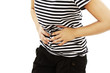 Woman with stomach issues on white background