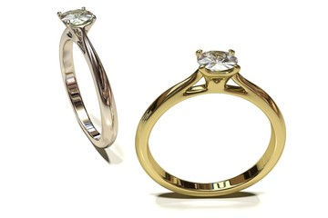 Gold and silver engagement ring