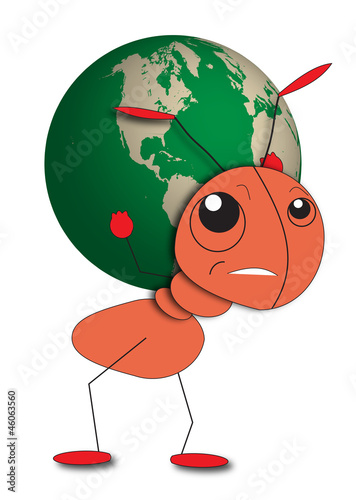 Ant Holds A Globe - Save The Planet