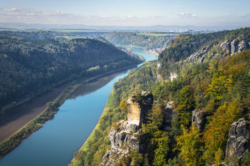 View from viewpoint of Bastei in Saxon Switzerland Germany to th