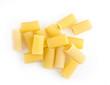 Rigatoni raw pasta isolated on white