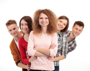group of happy students full of success isolated over a white