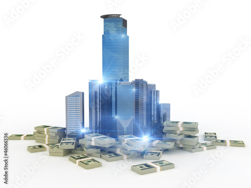 Dollars stacks around bussiness city center