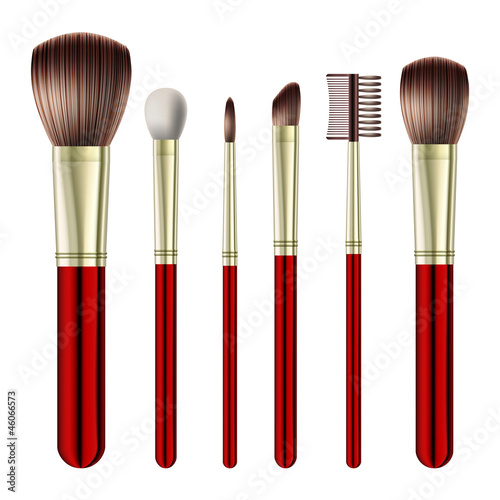 Set of makeup brushes