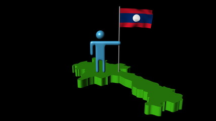 Abstract man with fluttering flag on Laos map animation