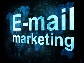 Marketing concept: pixelated words Email marketing on digital sc