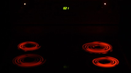Electric Burner of Stove Heating Up. Accelerated video
