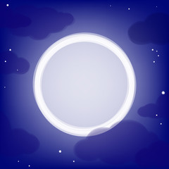 Night background with clouds, moon and place for the text.