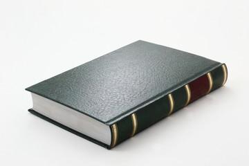 Libro con tapas de piel, verde, fondo blanco