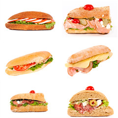 Isolated tasty sandwiches