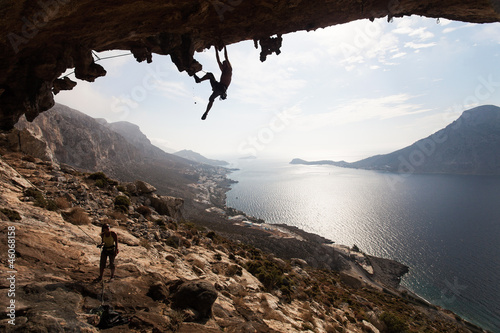 Rock climbers, Kalymnos Island, Greece