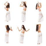 collage of images young pretty woman belly dancer